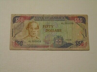 JAMAICA 1988 50 DOLLARS CIRCULATED BANKNOTE P-73a