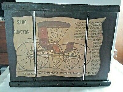 Antique $100 Phaeton Ad. On Rustic Wooden Frame By Edmiston & Waddell Co. Automo