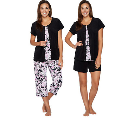 Nwt Carole Hochman Petite Daisy Floral Baby French Terry 4-Pc Lounge Set, Black