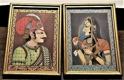 Vintage Man Woman Couple Persian Indian Middle Eastern Art Silk Gold Frame 2