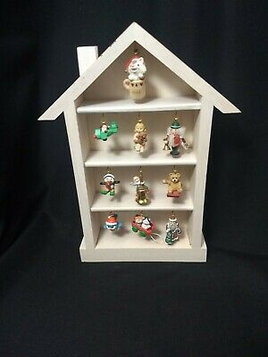 VTG Hallmark Memory House Shadow Box W/ 10 Miniature Ornaments Hanging Display