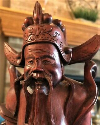 Antique Chinese Root Wood Carved Figure of a Immortal/God