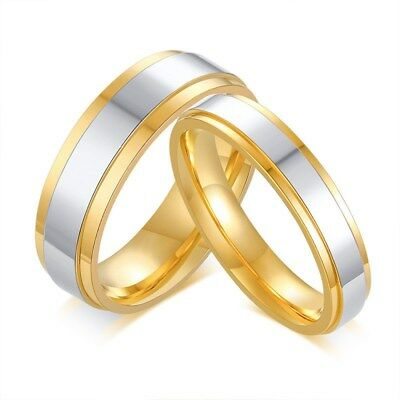 4/6mm Gold Plating High Polished Bands Ring Women Mens 316L Stainless Steel Ring