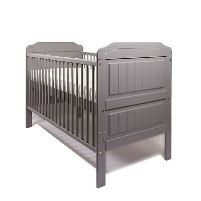 New Stanley Grey Cot Bed / Baby Cot Bed + High Density Foam Mattress 140x70x10cm