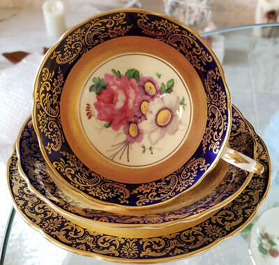 Paragon Gold Cobalt Rose Trio Cup & Saucer & Plate Vintage 1952's From Japan