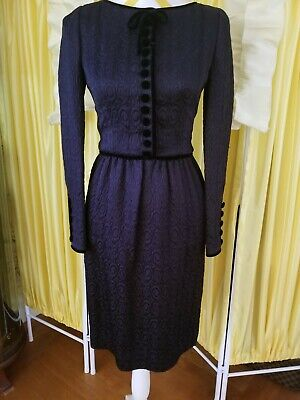 Vintage Oscar de la Renta Black Cocktail Dress Brocade Fabric with Velvet Trim 6