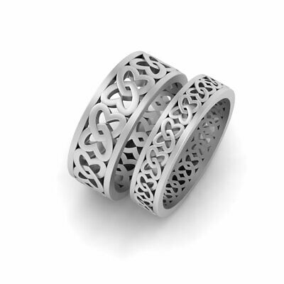 Love Knot Celtic Heart Ring Celtic Wedding Band His and Her Couple Wedding Set