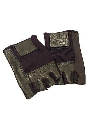 TWO PAIR Men Elastic Mesh Leather Fingerless Black Motorcycle Riding Gloves XL