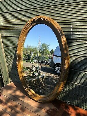 French antique Type Oval Carved Wood Mirror With Inlaid Beading