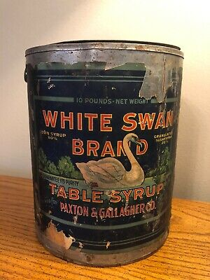 Antique White Swan Corn Syrup Tin Paxton & Gallagher Store Can Paper Label Rare