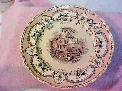 "Bi-Color Transferware ""Scottish Minstrel"" Plate 1800's  RARE"