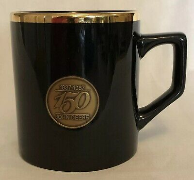 John Deere Mug Coffee Cup 150 Years Black With Gold Trim Mug