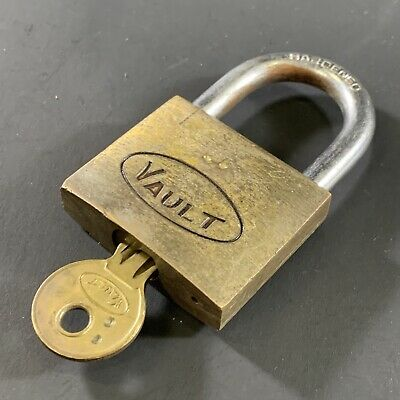 Vintage 'Vault' Solid Brass Padlock With Working Key Lock Safe Chain Fence Gate