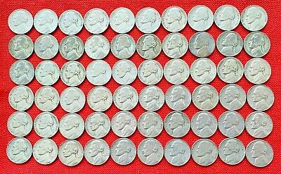 Lot of 1938-1961 Circ. Jefferson Nickels–60 coins with all 11 Silver War Nickels
