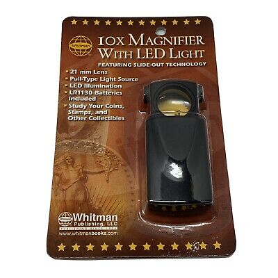 Whitman Coin Collector 10X Magnifier With Led Light, 21mm Lens - NEW