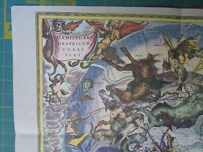 MAP Celestial anno 1660 repro constellations zodiac frameable Joannes Janssonius