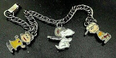 1950 Rare Charlie Brown-Friends United Features Syndicate Enamel Charm Bracelet