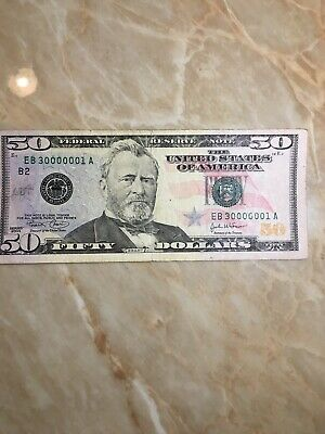 LOW  2004 6 Of A Row US FRN $50 SERIAL # EB 3 000000 1A New York Note