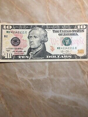 BINARY 6 of A Kind US FRN $10 NOTE SERIAL # MB41141111C New York Note