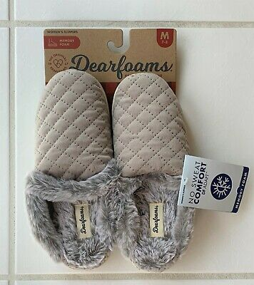 Dearfoams Quilted Memory Foam Velour Scuff Slippers Taupe Womens M 7-8 NEW