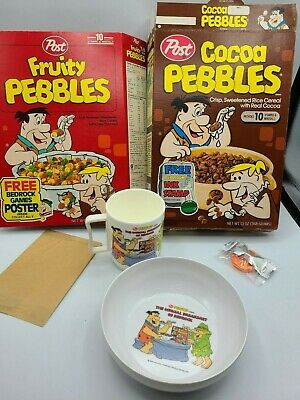 Vintage POST Pebbles boxes with NIP Flintstones Toys + mail away cup bowl spoon