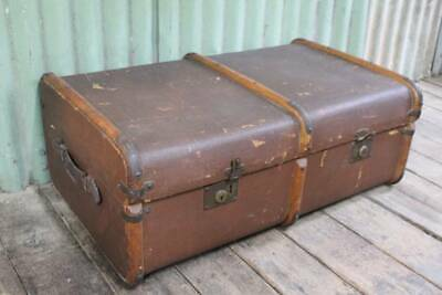 A Vintage Timber Bound Shipping Travel Trunk - Steamer Suitcase