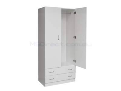 New Two Door Bedroom Storage Wardrobe All Hanging with 2 Drawers White Cupboard