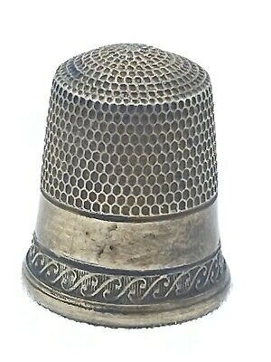 Antique Vintage Sterling Silver Sewing Thimble Size 10