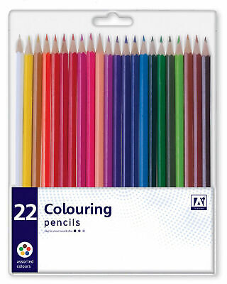 Pack 22 Assorted Colour Premium Colouring Pencils Kids Arts Crafts