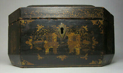 19th Century Chinese Export Lacquer Wood Tea Box Chest Tea Caddy - Antique