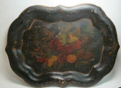 Antique Diminutive Black Hand Painted Tole Floral Metal Serving Tray
