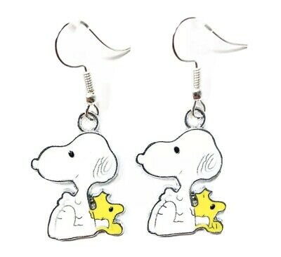 Peanuts Inspired SNOOPY With RED HEART Dangle Earrings Valentines Day Gift