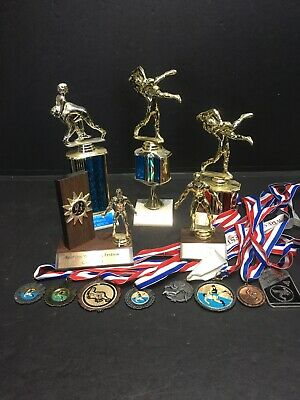 Lot of Westling Trophies (5) & Medals (8) - Upcycle for your Next Tournament! 🤼
