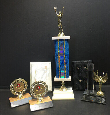 Mixed Lot of 4 Trophies &  2 Plaques- Up-cycling opportunity - Baseball Gold