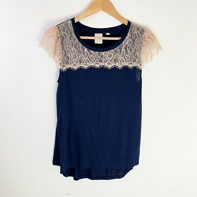E by Eloise Anthropologie Short Cap Sleeve Top Small Navy Blue Cream Lace Modal