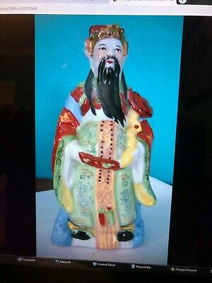 "ANTIQUE ORIENTAL CERAMIC ,ENAMELED,SIGNED FIGURINE 8 7/8""H, 1.8 lb..."