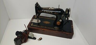 Singer Sewing Machine 1925 Brentwood Oak Case Needs Repaired WITH KEY AND PEDAL
