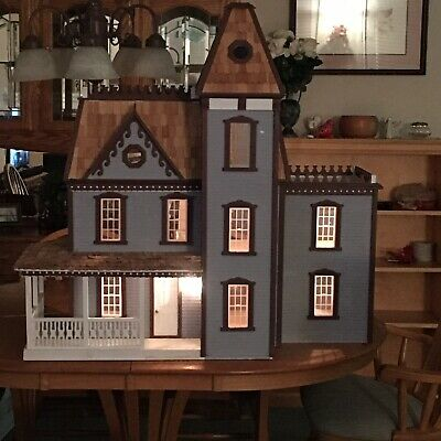 Vintage Handmade Wooden Doll House With Furniture