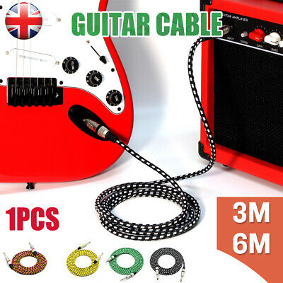 """Pro Tweed Guitar Bass Lead 6.35Mm 1/4"""" Straight Jack Braided Instrument Cable Uk"""