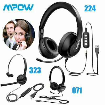 Mpow USB Noise Cancelling Microphone Computer PC Headset Headphones Call Centrer