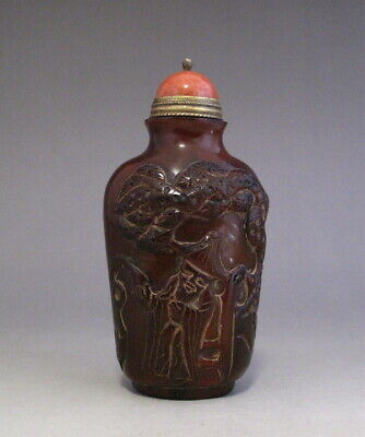Chinese Old Ox-horn Hand-Carved Fisherman Snuff Bottle