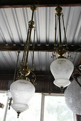 Long Antique Style Brass Light Fitting with Etched Glass Shade - One Only