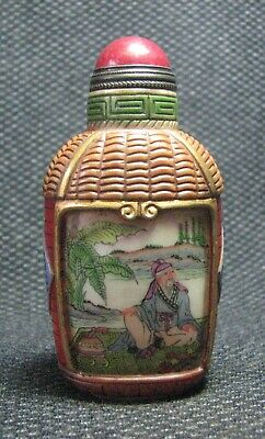 Chinese Glass Delicate Hand Painted Old Man Snuff Bottle////**