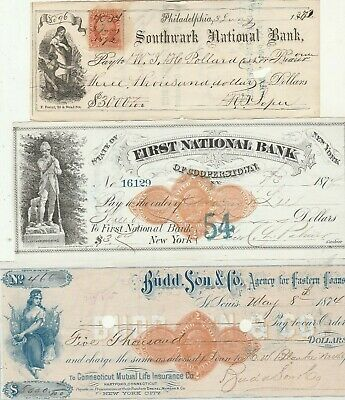Three (3) Old Checks From The 1870'S      Nice Revenue Stamps