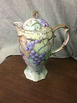 "Hand Painted 10"" Chocolate Pot Grapes Gold Trim"