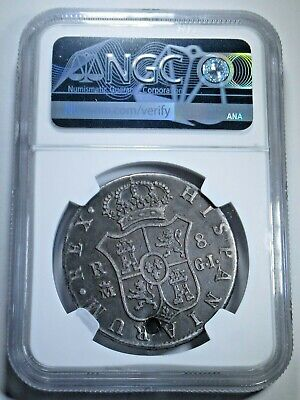 NGC 1816 GJ Spain Spanish Silver 8 Reales Authentic Antique Colonial Dollar Coin
