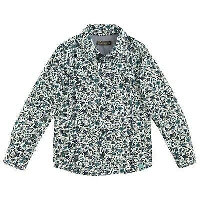 JEAN BOURGET Boys White, blue & Turquoise floral patterned long sleeve shirt 4 y
