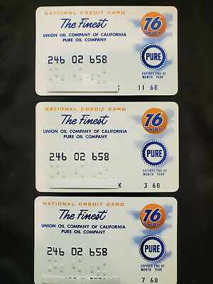 Union 76 Oil Company of California Pure Oil 1968 Vintage Credit Cards Lot of 3