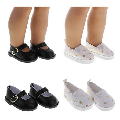 1 Pair White Pu Bow Shoes Dolls Accessories Suitable Inch For 18 Girl Doll D1O2