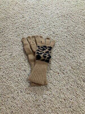 J Crew Womens Gloves AE636 Leopard Print Texting Wool Blend Brown Black One Size